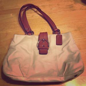 Coach white/cream leather Soho handbag